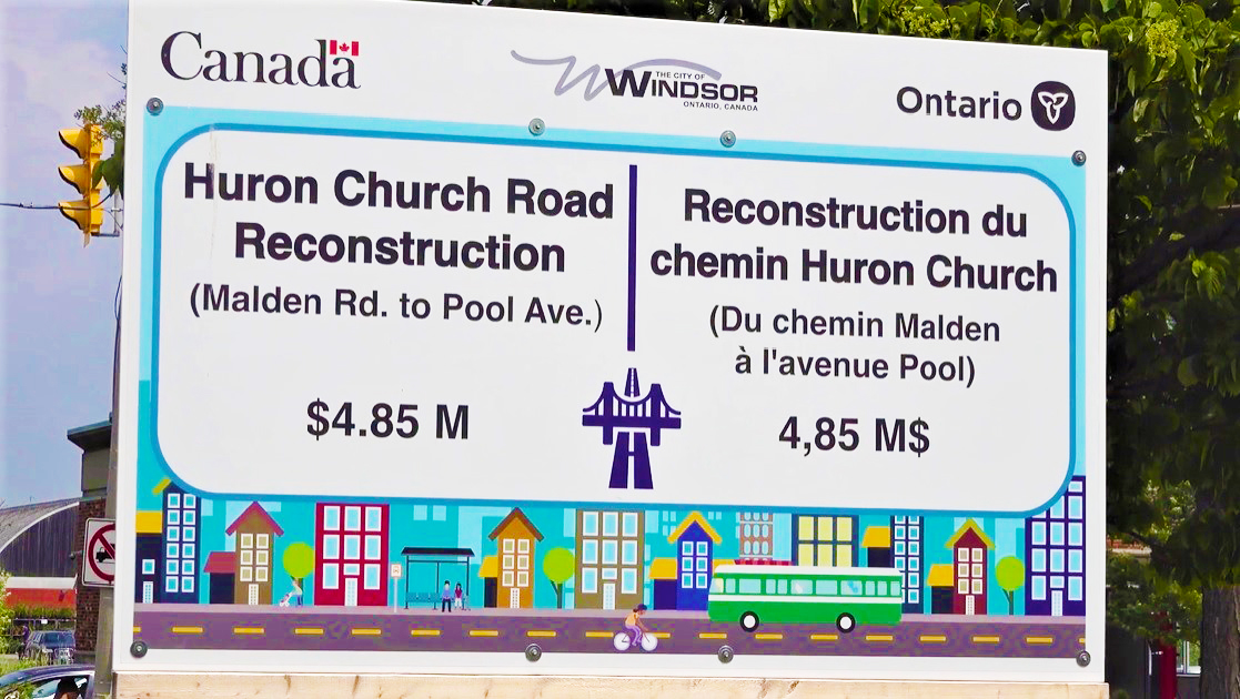 Huron Church Road Reconstruction project sign