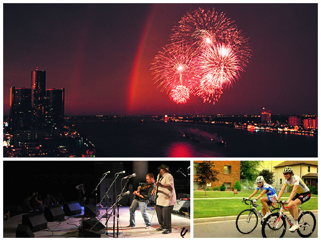 Collage showing riverfront fireworks, concert and cyclists