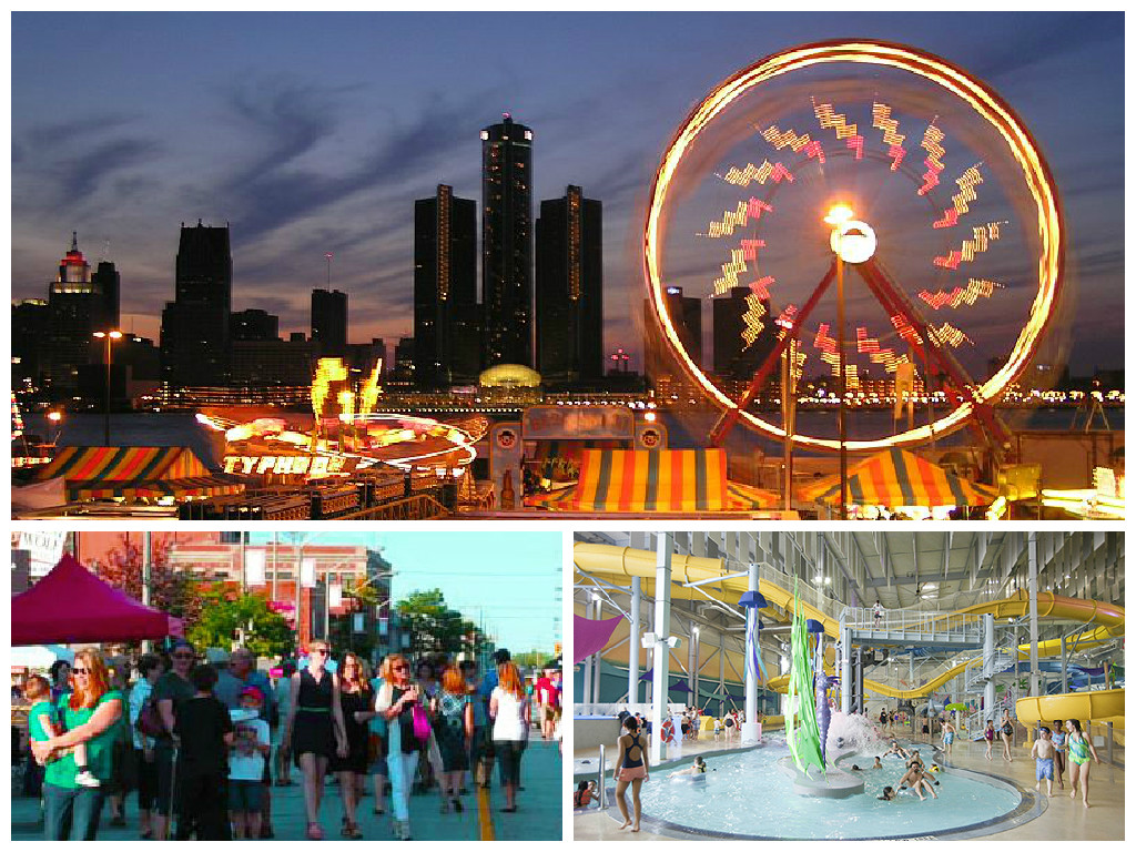 Collage showing carnival, street festival and water park
