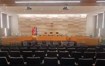 View of Council Chambers from the seating area