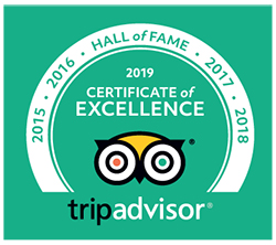 TripAdvisor 2019 Certificate of Excellence Hall of Fame logo