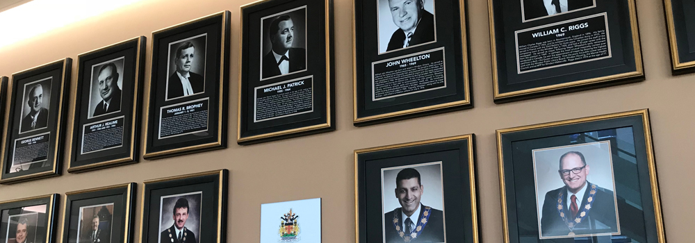Windsor Mayors Portrait Project Display at Windsor City Hall