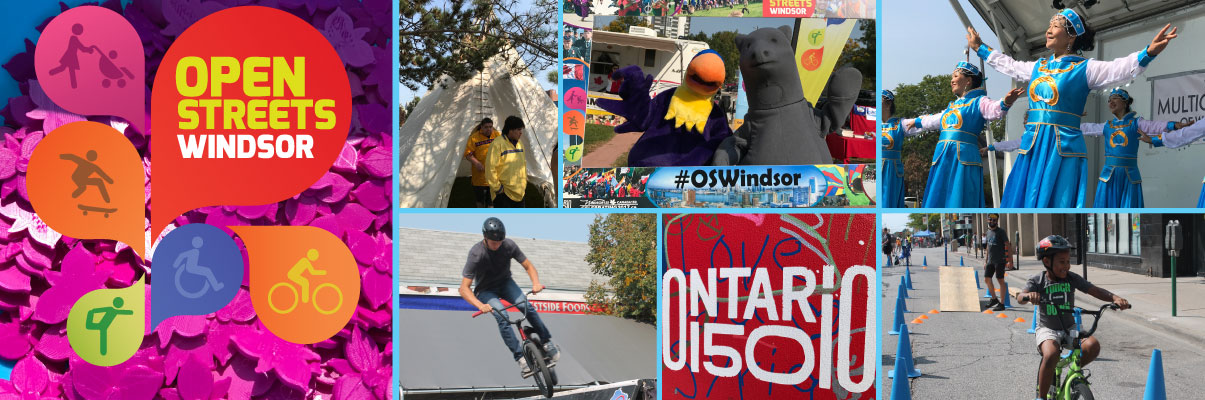 Collage of photographs from the Open Streets Windsor - Ontario 150 Celebration Event