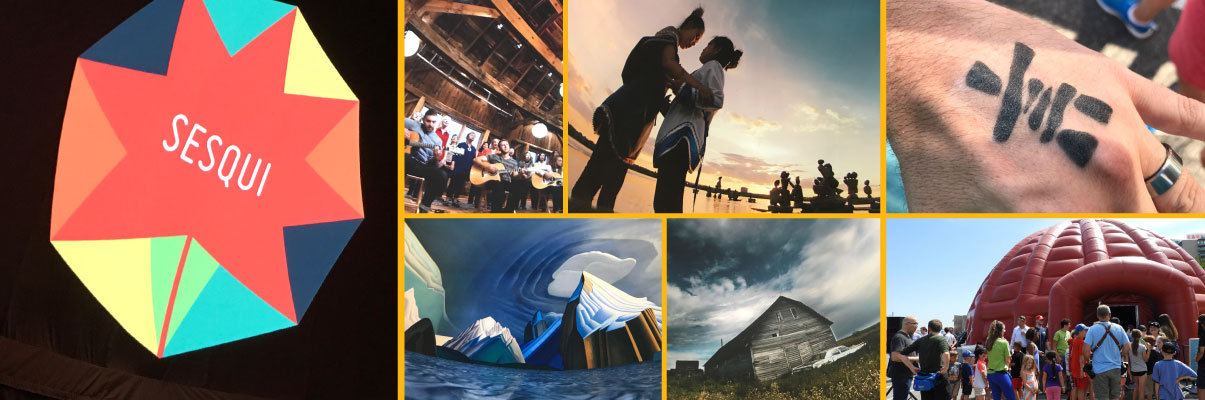 Collage of photos from the SESQUI Exhibition Cinematic Dome visit to Windsor