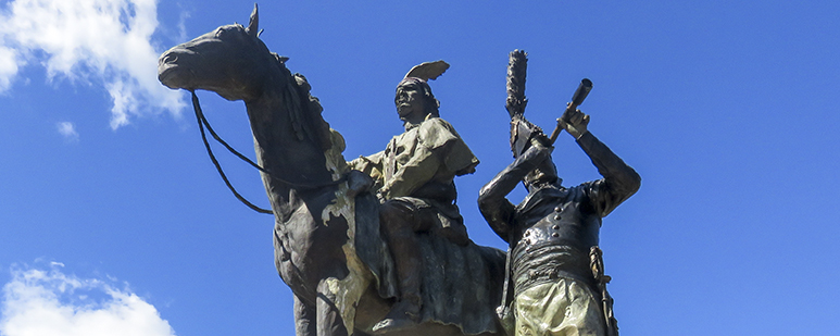 Tecumseh Brock Monument, detail of two bronze sculptures.