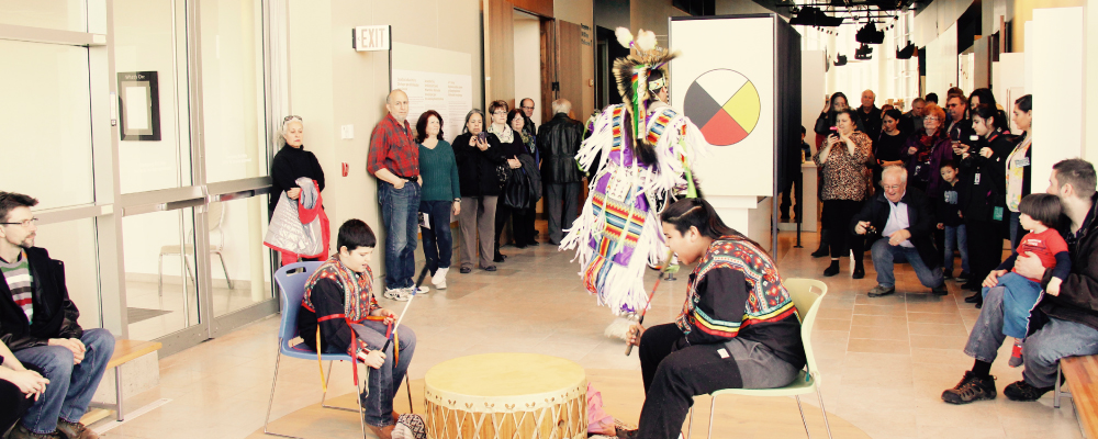 WasaNabin Youth Drum and Chayton Hedgepeth perform at the Chimczuk Museum