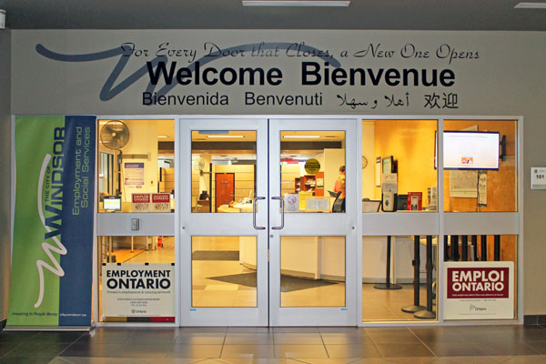 Entrance of the City of Windsor Employment Resource Centre