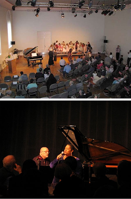 Collage of performances in the auditorium