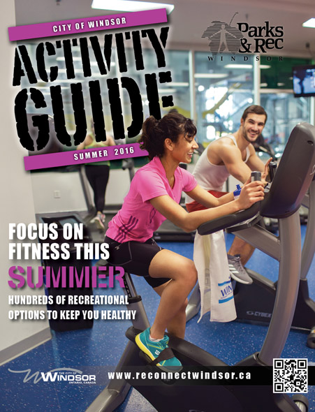 Guide cover with woman and man on exercise bikes