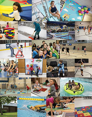 Collage of indoor and outdoor recreation activities and facilities