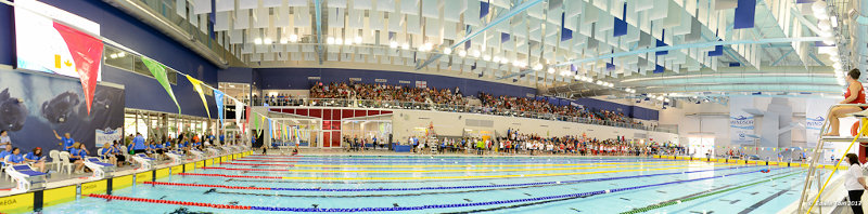 Panoramic view of the pool in action