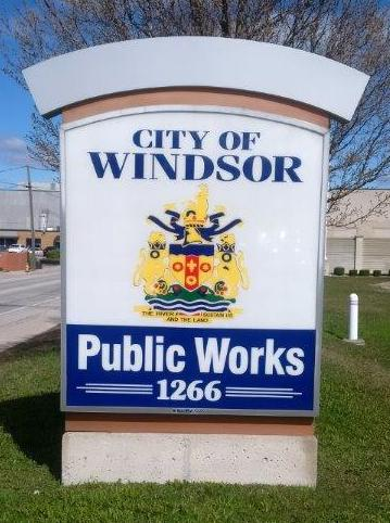Roadside sign at Public Works Office