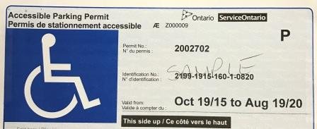 Sample Accessible Parking Permit