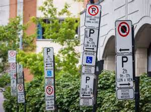 Cluster of regulatory parking signs