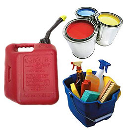 Paint, gasoline, and cleaning products