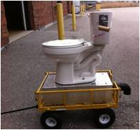 a mobile toilet on wheels