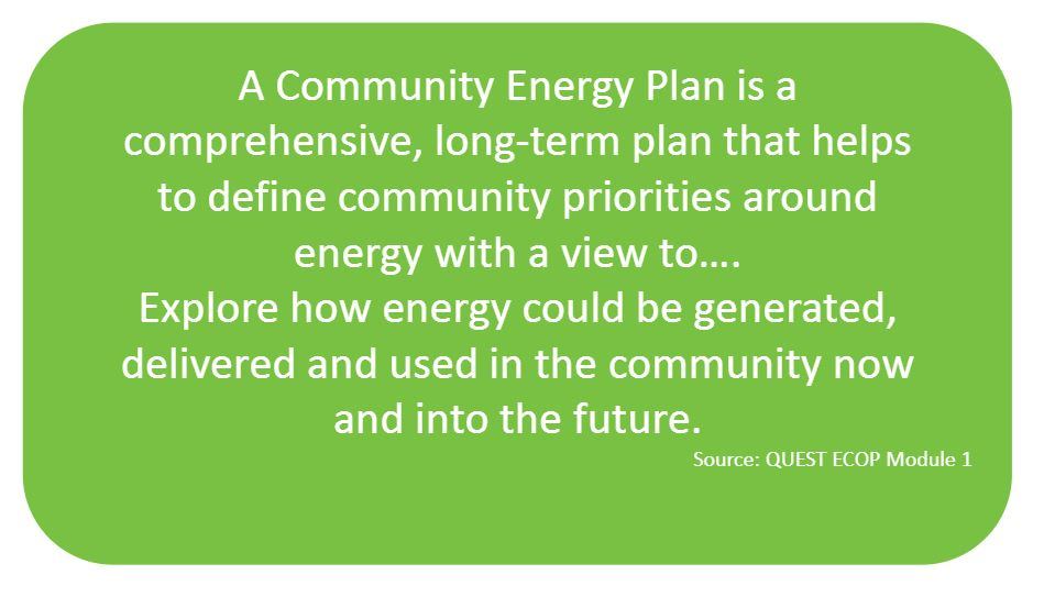 A Community Energy Plan is a comprehensive, long-term plan that helps to define community priorities around energy