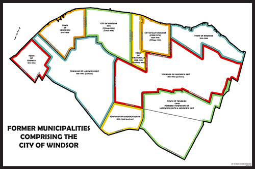 Map of former municipalities comprising the City of Windsor