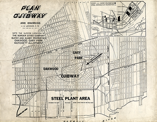 Proposed plan for Ojibway and area,1922.