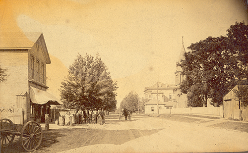 Streetview near the intersection of Sandwich and Brock Streets in Sandwich in 1885, the major interesection at that time