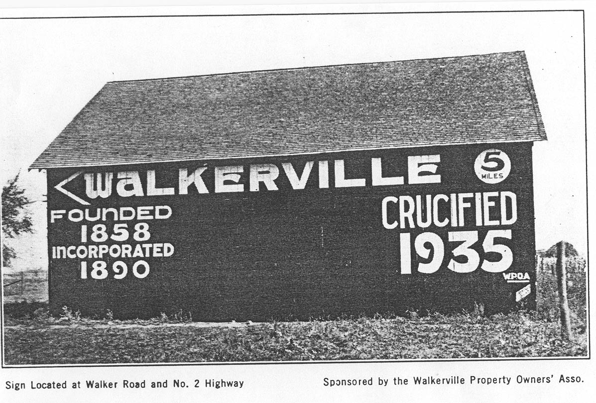 Barn with message, Walkerville crucified 1935
