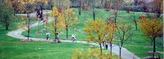 a landscape view of Malder Park.  A group of cyclists along a curved path.