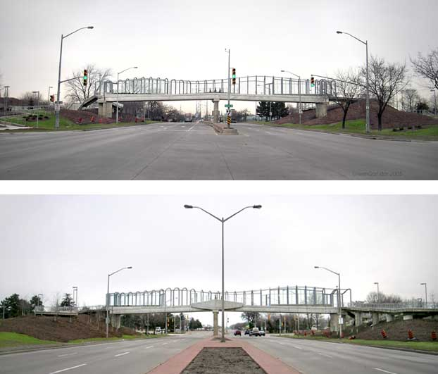 Split screen of north and south views of bridge