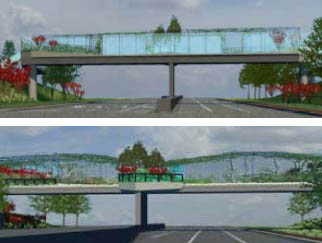 Artist's concepts of north and south views of bridge