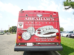 Back end wrap ad for Abraham's Jewllery
