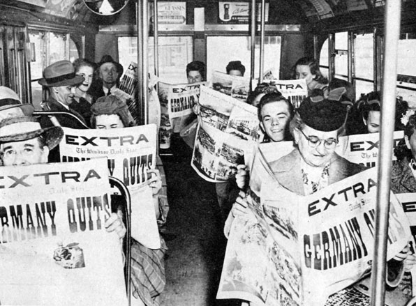 Bus riders during World War 2