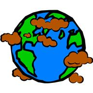 Cartoon of earth with brown clouds